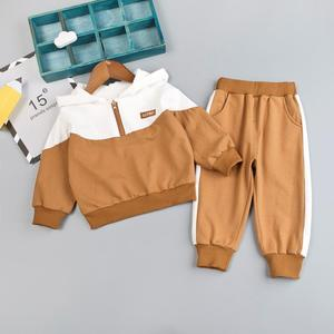 Image 1 - Boys Baby Clothing Girl Hooded Casual Clothes Set Fashion Patchwork Baby Boy T Shirt + Pants 1 2 3 4Y