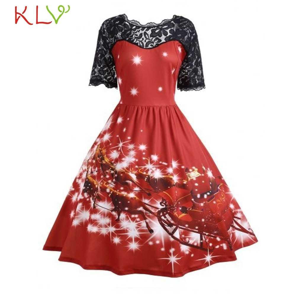 חג המולד שמלת תחרה תפר חג המולד הדפסת בציר שמלת חדש פסטיבל תלבושות ערב המפלגה שמלה אלגנטי נשים חורף שמלת 19Sep