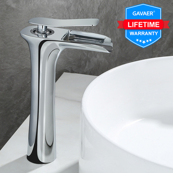 Gavaer Bathroom sink faucet chrome faucet hot and cold water one hole sink faucet single handle bathroom waterfall