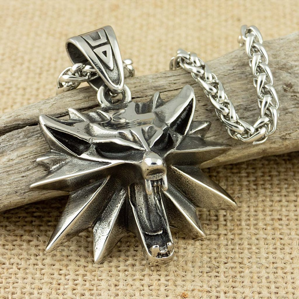 53*43mm Stainless Steel The Wizard Wolf Head Pendant Necklace For Geralt With A The Wild Hunt 3 Figure Game