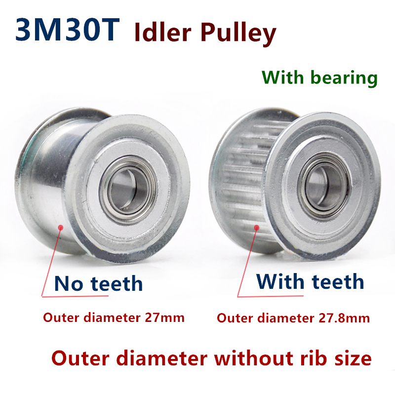 30 Teeth 3M Idler Pulley Tensioner Wheel Bore 5/6/7/8/10/12/15mm with Bearing Guide 3M synchronous Gear HTD3M 30teeth 30T