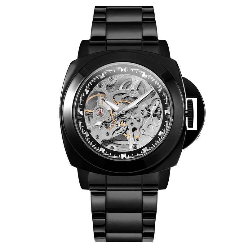 אופנה יוקרה מותג שלד מכאני שעון גברים אוטומטי חלול נירוסטה צבאי ספורט שעון זכר Relogio Masculino