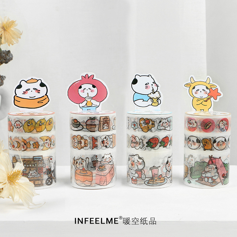 3roll/1lot Washi Masking Tapes Cat Uncle Tea Shop Decorative Adhesive Scrapbooking DIY Paper Japanese Stickers