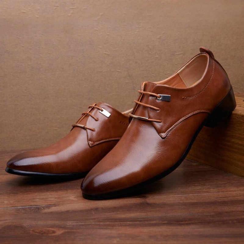 أسود مدبب الأحذية الرجال براون اللباس أحذية من الجلد رجل الرسمي أحذية رجالي أوكسفورد Vestidos lassicos Elegantes الرجال الأعمال الأحذية