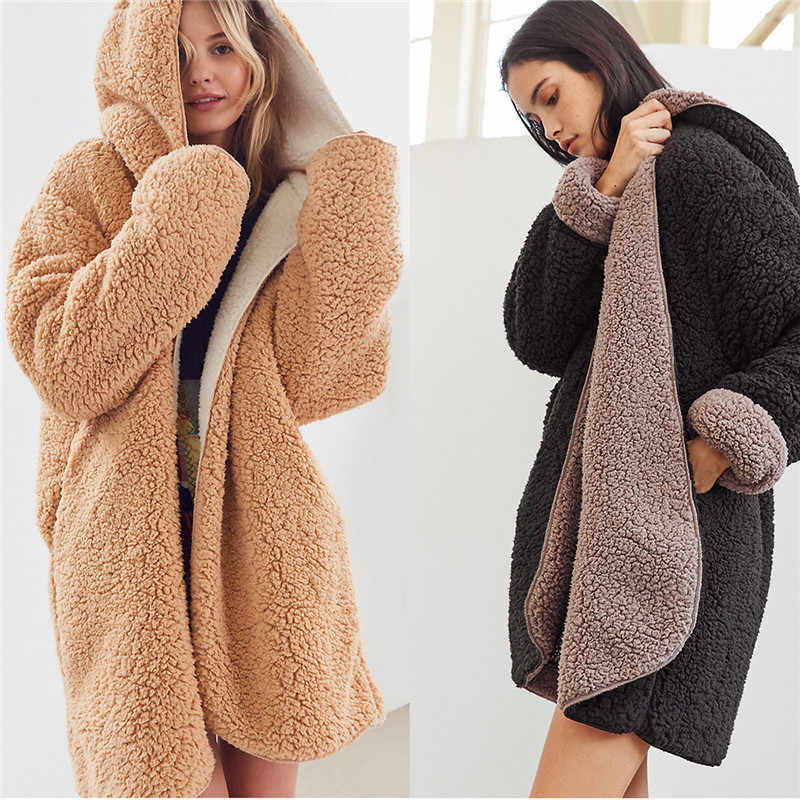 Tom Hagen Women Coats Winter 2019 Double-faced Coat Teddy Coat Warm Cardigan Long Coat Elegant Korean Jacket Thick Hooded Coat