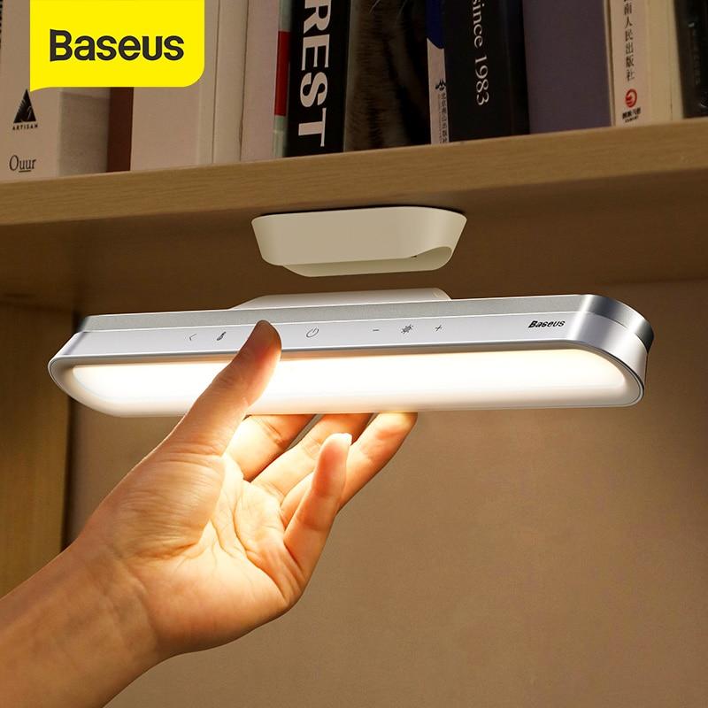 Baseus led lâmpada de mesa pendurado lâmpada de mesa magnética para o gabinete estudo luz usb recarregável stepless escurecimento dormitório luz da noite