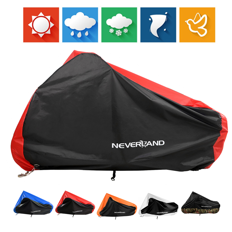 Motorcycle Cover All Season Waterproof Dustproof UV Protective Outdoor Indoor Lock-holes Design Motorbike Rain Covers Coat D35