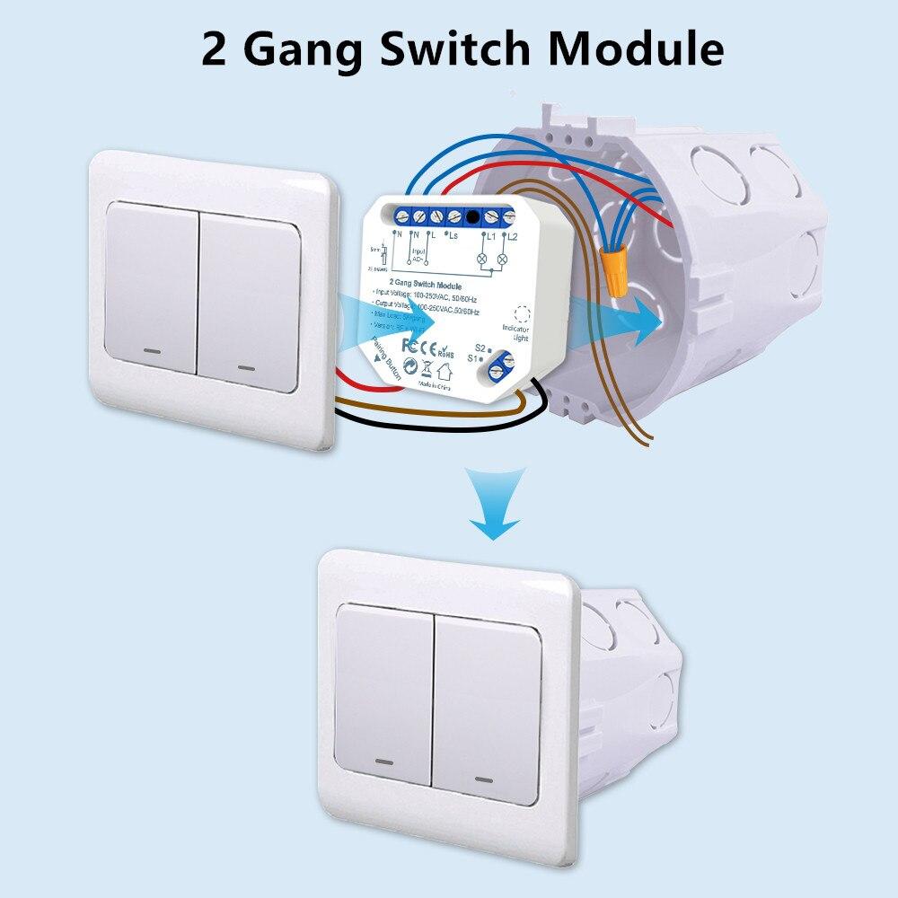 2 Gang WiFi переключатель DIY релейный модуль Tuya умное освещение работает с Google Home Alexa App таймер настенный выключатель домашняя Автоматизация
