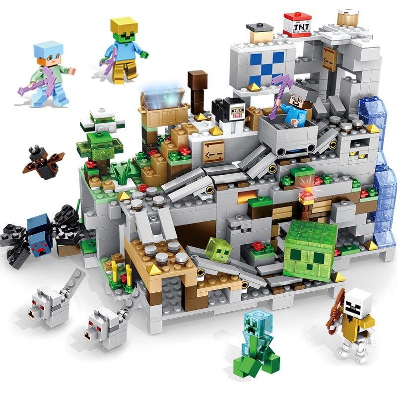 A caverna montanha se conjunto blocos de construção com steve figuras ação compatível legoinglys minecraftallys conjuntos brinquedos para crianças