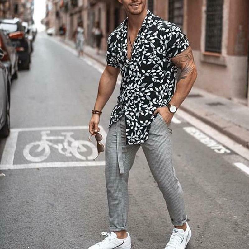 2019 New Fashion Men Hawaiian Shirt Beach Flower Party Summer Holiday Fancy Tops Short Sleeve Shirts