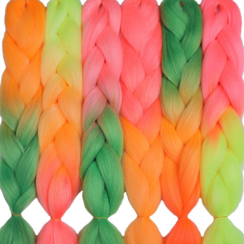 MERISIHAIR 24inch Crochet Braids Box Braids 100g/pc Ombre Jumbo Braids Synthetic Braiding Hair Extensions