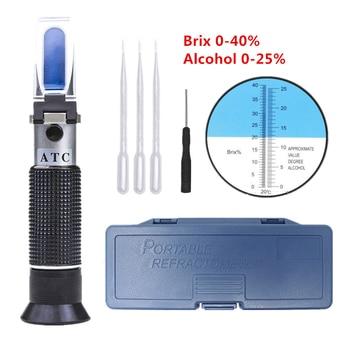Wine Refractometer Alcohol 0-25% Spirits Tester Alcoholometer Brix 0-40% Sugar Meter Dual-scale Design To Measure