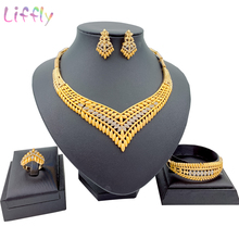 Fashion Wedding Elegant Bridal Gold Jewelry Sets Crystal Necklace Bracelet Earrings Ring Nigeria Wedding Jewelry Set top women christmas gifts flower shape bridal jewelry accessories gold necklace crystal earrings italian jewelry sets