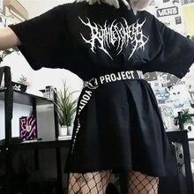 Футболки Koreanische frauen T-shirt Schwarz Baumwolle Übergroßen Express Hip-Hop Top Harajuku Retro Schöne Gothic Grafik Punk Kleidung