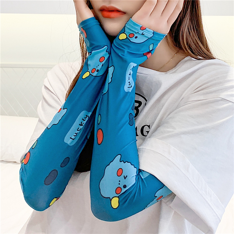 Lady Ice Silk Arm Warmers Fashion Female Sleeves UV Sun Protection Print Sleeve Cover Women Summer Arm Slimmer Cuff 2020 New
