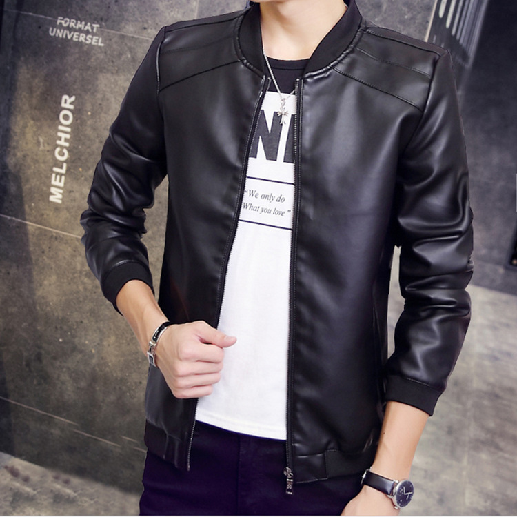 MEN'S Leather Coat Jacket Casual Men Machine Leather Jacket Korean-style Stand Collar PU Leather Plus Velvet Jacket