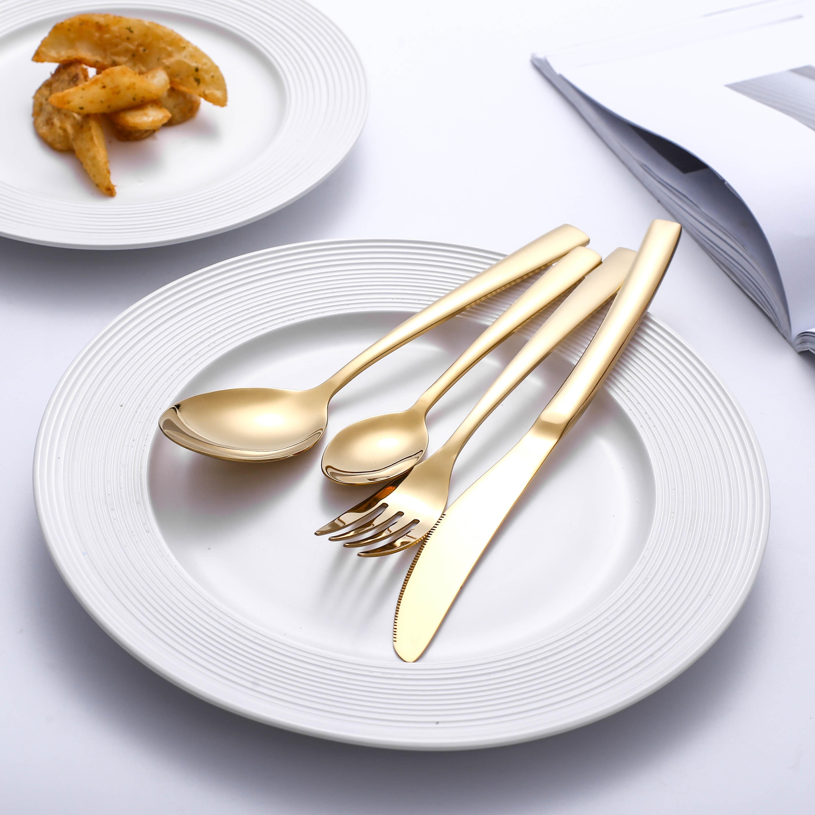 24 шт. столовые приборы посуда Золотой столовый набор столовых приборов, столовые приборы, набор посуды, ножи, вилки, ложки, Западная кухня, ст...