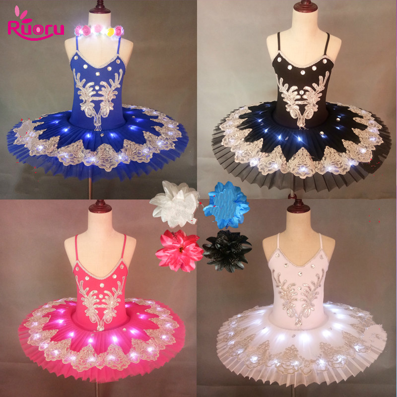 Ruoru Professional Led Light Swan Lake Ballet Led Tutu Girls Ballerina Dress Kids Ballet Dress Dancewear Stage Party Costumes
