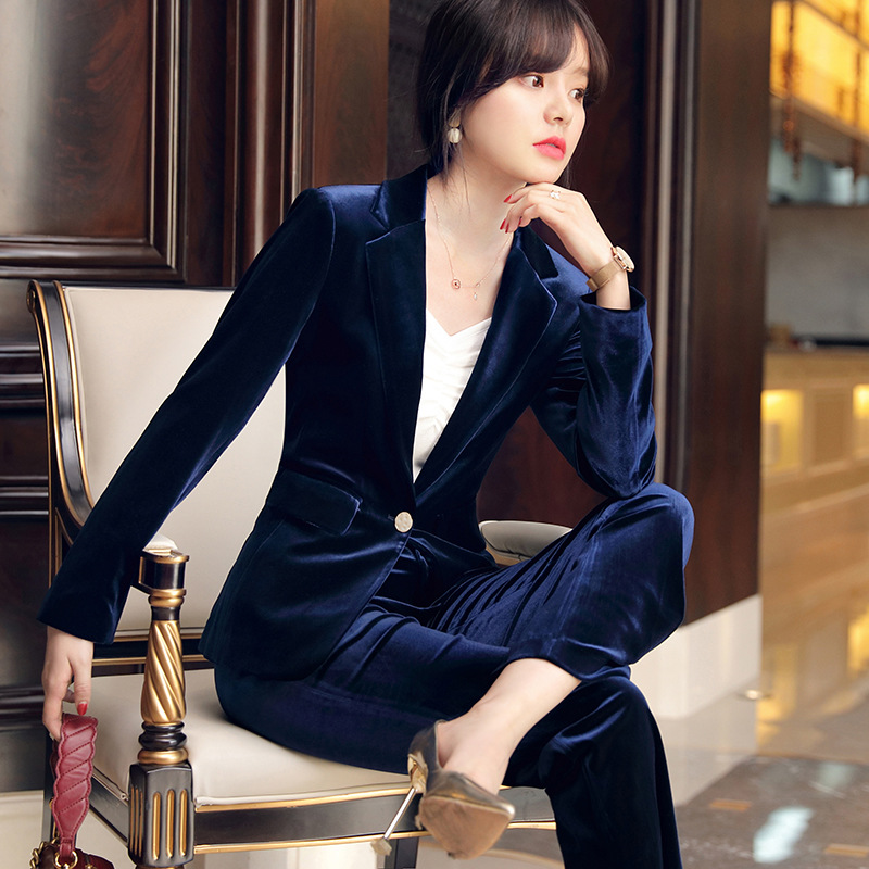 Gold Velvet Suit Set 2019 Autumn New Fashion Casual Business Professional Wear Lady Temperament Host Slim Work Clothes Two-piece