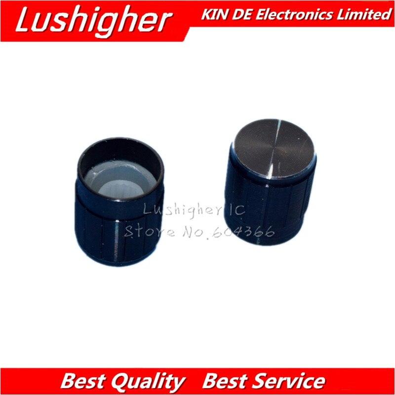 10pcs 15*17mm Aluminum Alloy Potentiometer 15*17 Knob Rotation Switch Volume Control Knob Black