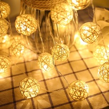 Sepak Takraw Led Fairy String Lights Rattan Balls Cotton Warm White Garland LED Holiday Christmas Decoration New Year Navidad
