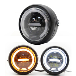 6.5 inch LED Cafe Racer Motorcycle Headlight Lamp Halo DRL Moto LED For sportster bobber chopper street glide Scrambler GN125
