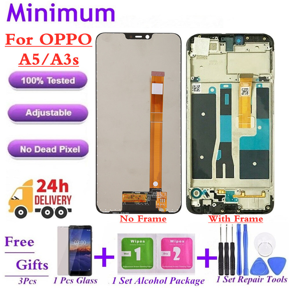 """For OPPO A5 / A3s CPH1803 6.2"""" LCD Display Touch Screen Digitizer Assembly With Frame Replacement Parts + Gifts(China)"""