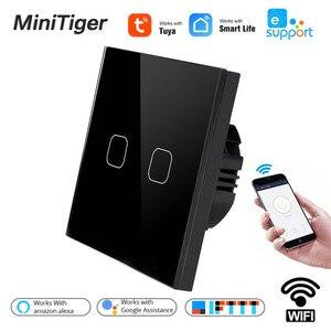Смарт стандарт ЕС Tuya/Smart Life/ewelink 2 Gang 1 Way WiFi настенный светильник сенсорный выключатель для Google Home Amazon Alexa Голосовое управление