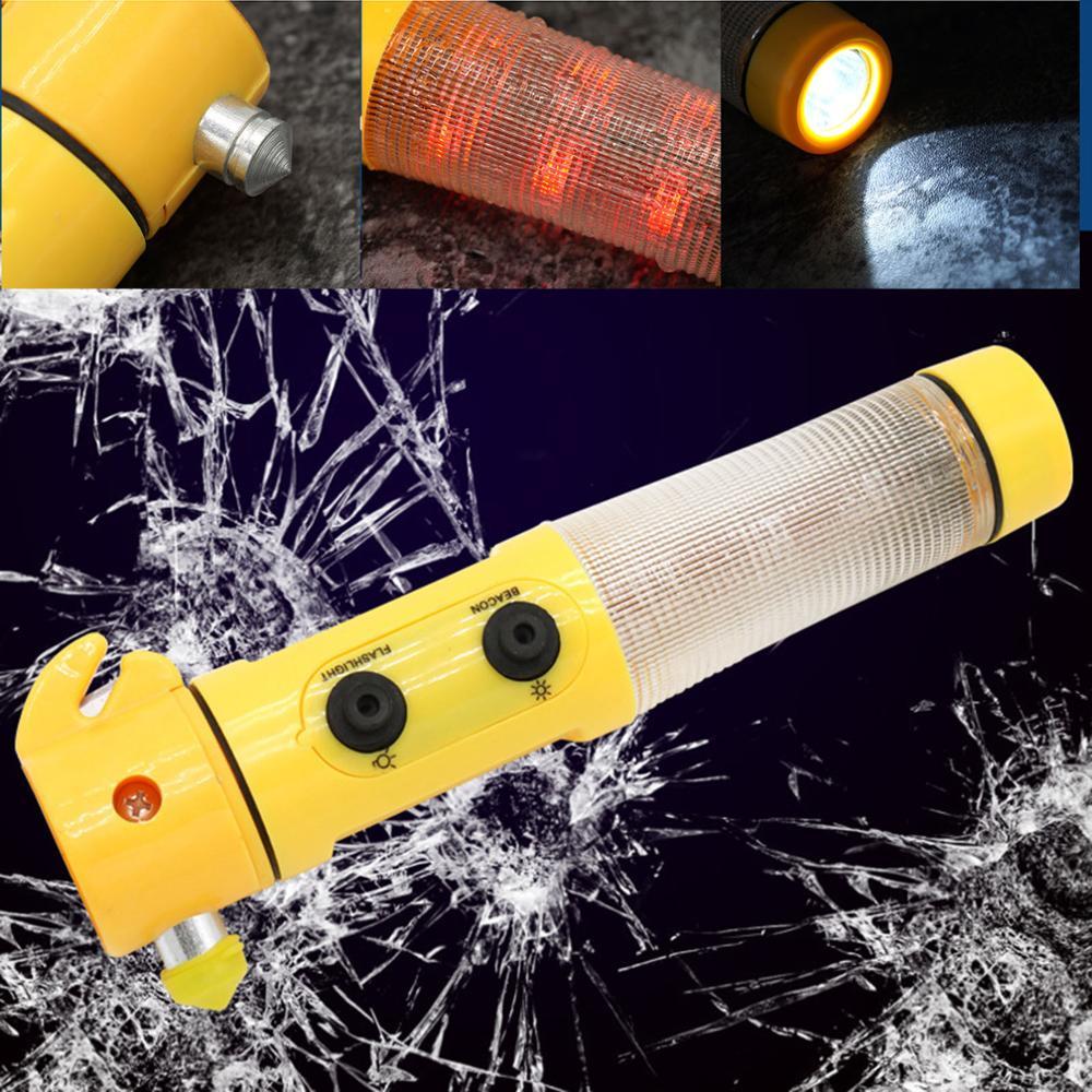 Multi-Function 4 In 1 Emergency Hammer + Seat Belt Cutter + Flashlight + Warning Light Window Glass Breaker Car Rescue Tool