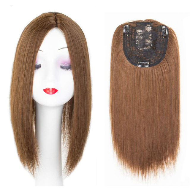 Women Hair Topper Piece Synthetic Hair 3 Clips In one piece Hair Extension long straight High Temperature Fiber 1