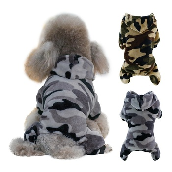 Puppy Hood Coat Pet Dog Warm Camouflage Fleece Clothes Four-legged Outerwear Coat For Dogs Costumes Pet Clothing tanie i dobre opinie Paski Polar