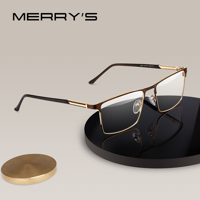MERRYS DESIGN Men Luxury Glasses Frame Male Square Optical  Business Style Myopia Prescription Hyperopia Alloy Eyeglasses S2052