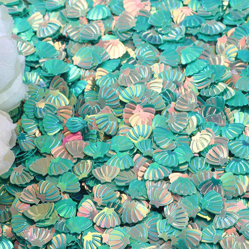15 グラム玉虫色シェルグリッター紙吹雪 7 ミリメートルパープルベビーシャワー紙吹雪パーティーテーブル散布デコレーション DIY Supplie