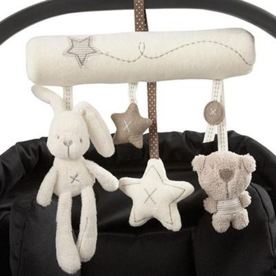 Baby Music Toys For Bed Wind Bell 0-12 Months Mobility On The Bed Plush Stuffed Rabbit Bear Hanging Soft Baby Toy Small AA50YL