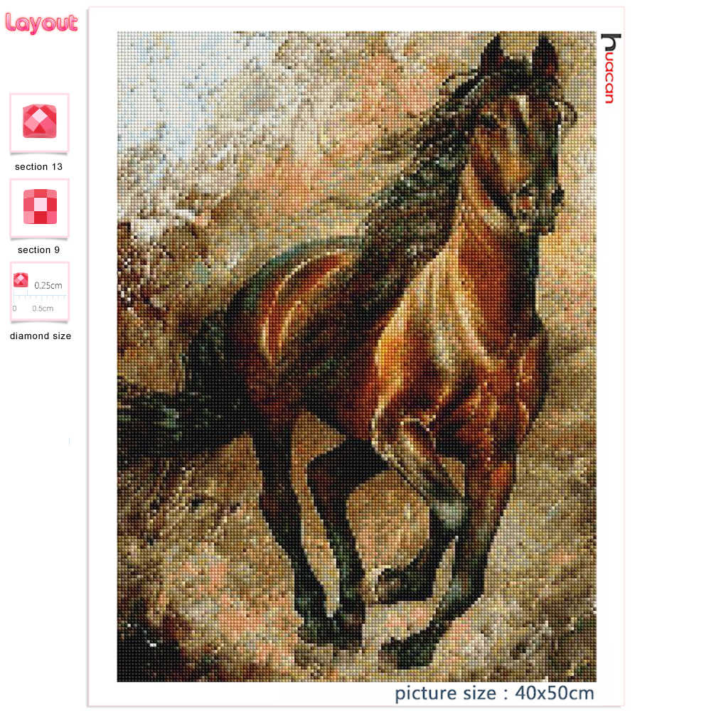 Huacan סוס 5d יהלומי ציור חדש עזיבות בעלי החיים פסיפס תפר צלב עיצוב הבית רקמת יהלומי אמנות
