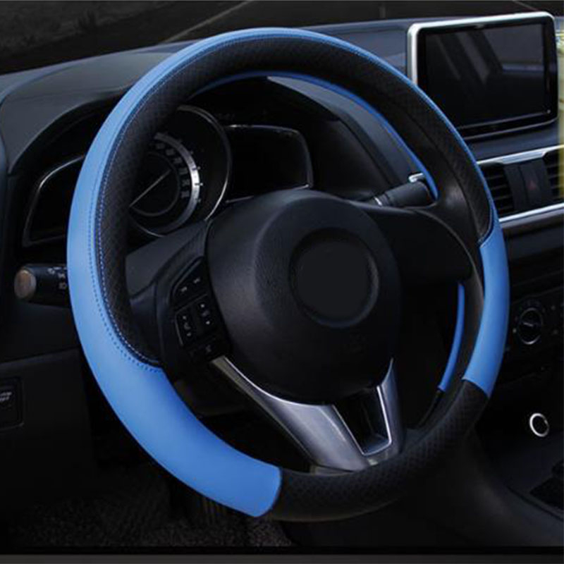 steering wheel cover PU leather sports design steering wheel cover car interior accessories car shape four seasons universal in Automotive Interior Stickers from Automobiles Motorcycles