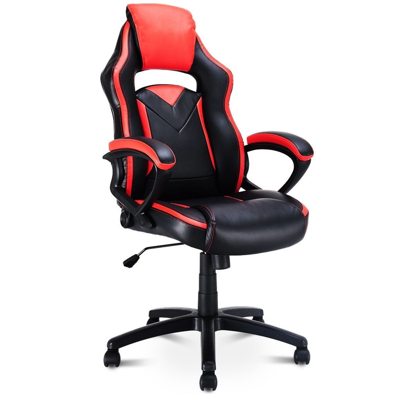 High Quality 31 Lbs Racing Style Gaming Chair Swivel Office Chair PU Leather Surface Thick Cushion Soft Armrest 5 Wheels HW58299