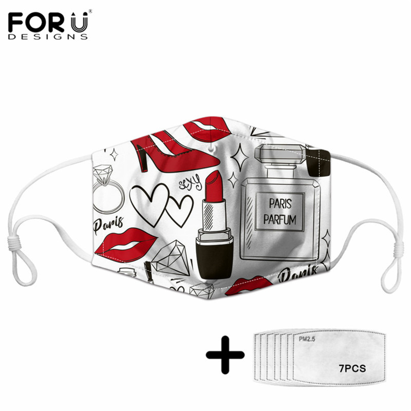 FORUDESIGNS Women Masks Red Lipstick Pattern Female Adjustable High Elasticity  Washable Reusable Anti Dust Face Mouth Mask