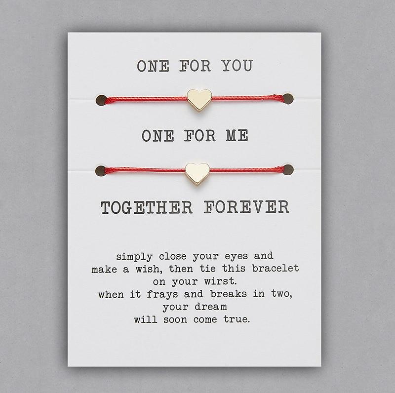 2 шт./компл. Сердце Звезда браслеты с крестообразной подвеской один для вас один для меня красная веревка плетение пара браслет для мужчин женщин карточка пожеланий - Окраска металла: BR18Y0711-2