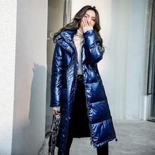 Модная блестящая парка с нашивкой, женская зимняя куртка с хлопковой подкладкой, теплая плотная длинная парка с большим меховым воротником, женские куртки s