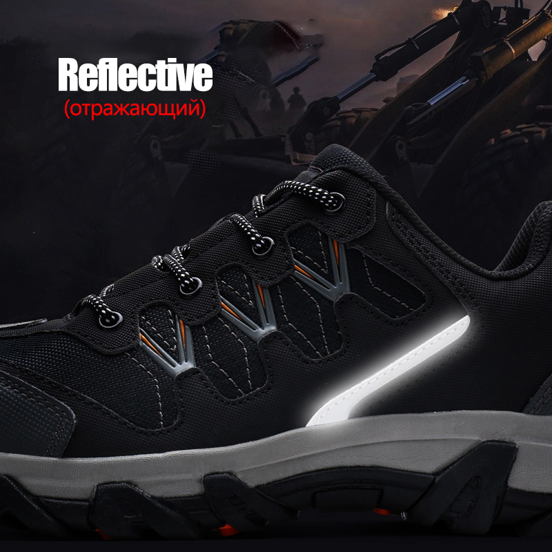 LARNMERN Mens Safety Work Shoes Steel Toe Cap Casual Reflective Outdoor Sneakers
