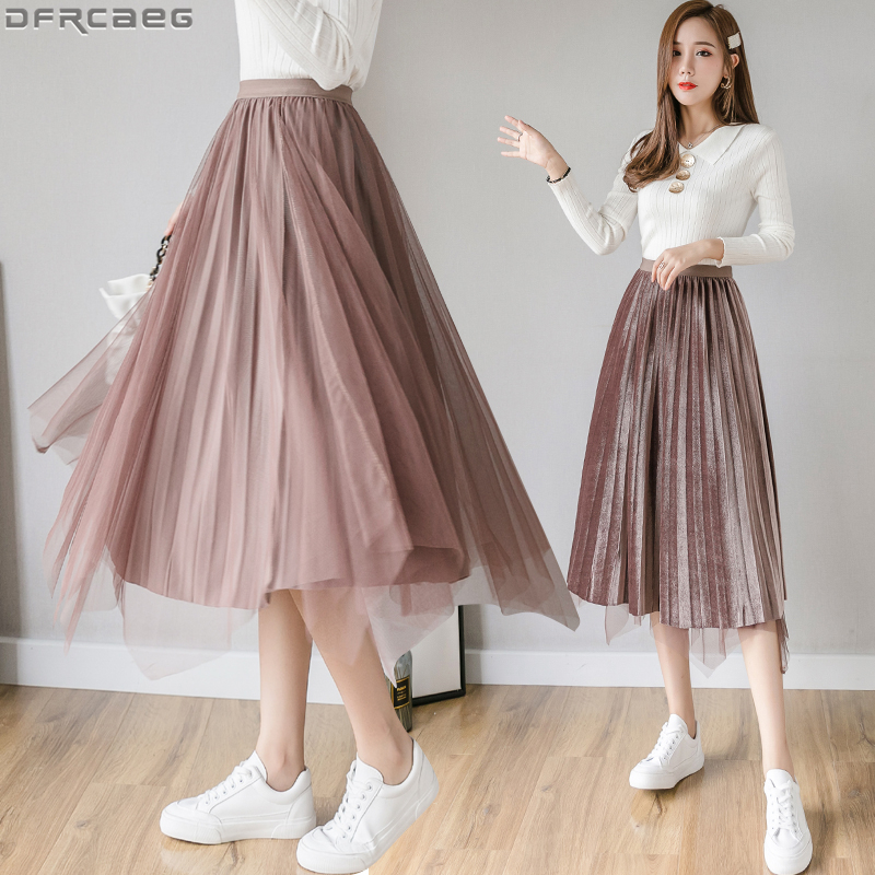 Fashion Patchwork Mesh Midi Skirt Women Velvet Winter Saias Both Sides Can Wear Jupe Tulle Femme Stretch Pleated Ladies Skirts