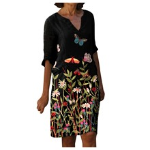 V-Neck Dress Vestidos Loose Plus-Size Casual Women's Ladies Fashion Printed Medium Long-Sleeved