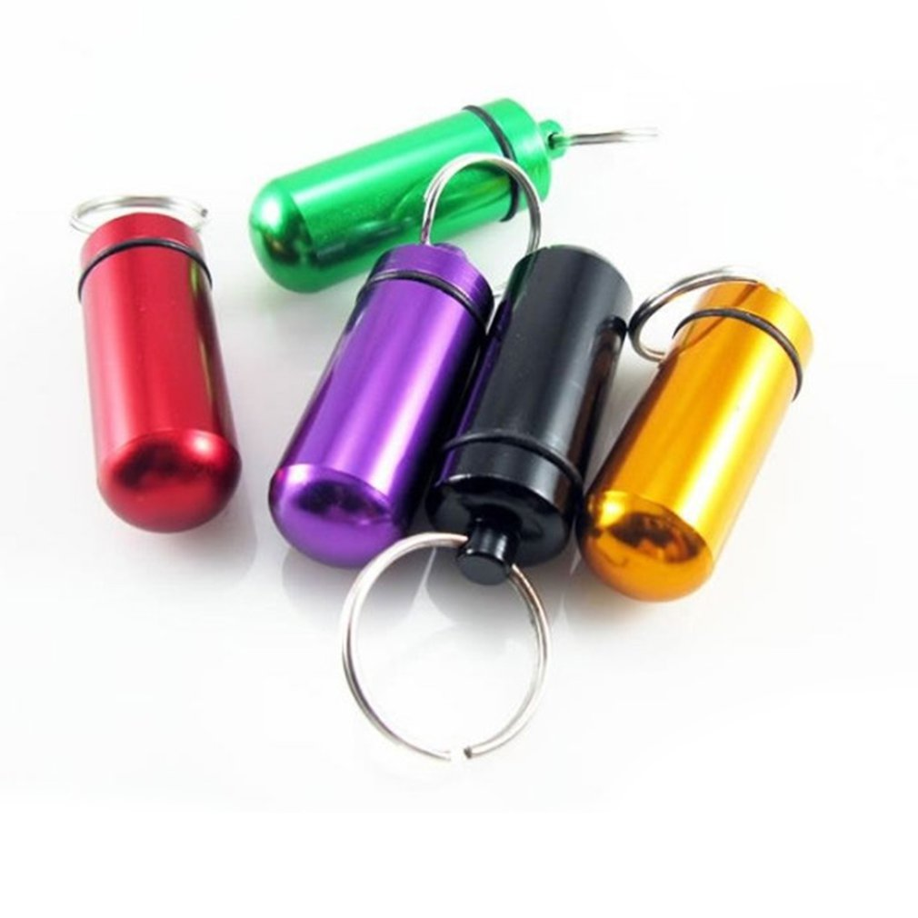 1 Pc Mini Portable Waterproof Aluminum Pill Box Case Bottle Cache Drug Holder Container With Keychain