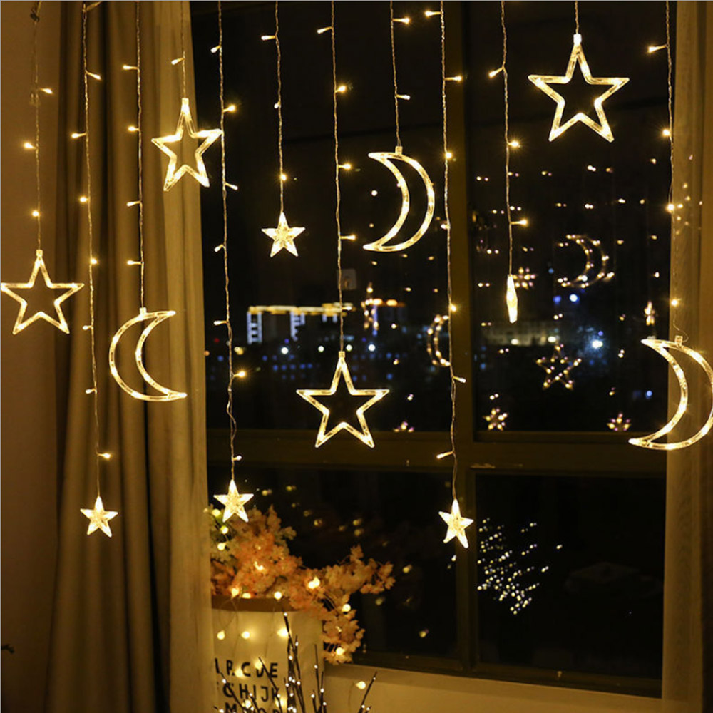 220v 5v Fairy Light Moon Star Lamp LED String Ins Christmas Lights Decoration Holiday Lights Curtain Lamp Wedding Neon Lantern
