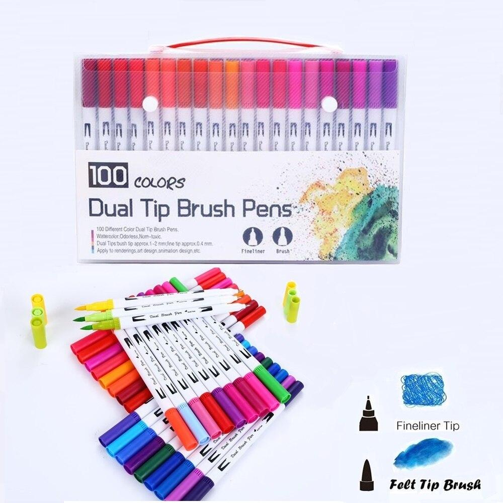 12/24/36/48/72/100 Colors FineLiner Drawing Manga Painting Watercolor Art Marker Pens Dual Tip Brush Pen School Supplies