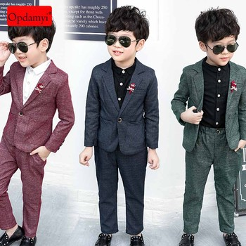 цена на 2 Piece Coats and Pants Suit Boys Suits for Wedding Holiday Formal Kids Dresswear Fashion Boy Suits baby Boy Clothes
