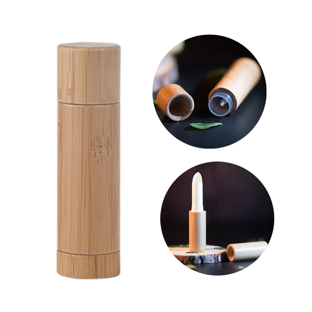 Eco-friendly Bamboo Lipstick Tube Lip Gross Container Biodegradable Lipstick Bottle Empty Tube Container DIY Refillable Bottle