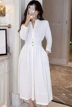 2019 New Autumn Women Long dress Batwing Sleeve Fold Dresses White 350