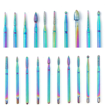 1 pcs Rainbow Coating Nail Drill Bits Tungsten Carbide Milling Cutter For Electric Manicure Machine Nail Files Tools LA1514-1